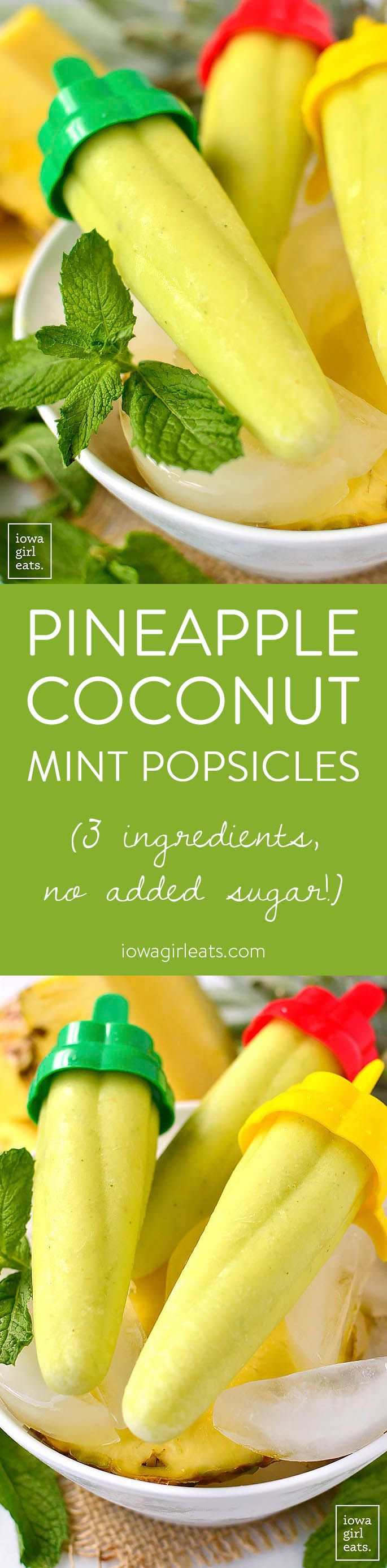 Pineapple Coconut Mint Popsicles are a 3-ingredient, sugar-free popsicle recipe for the hottest of summer days! | iowagirleats.com