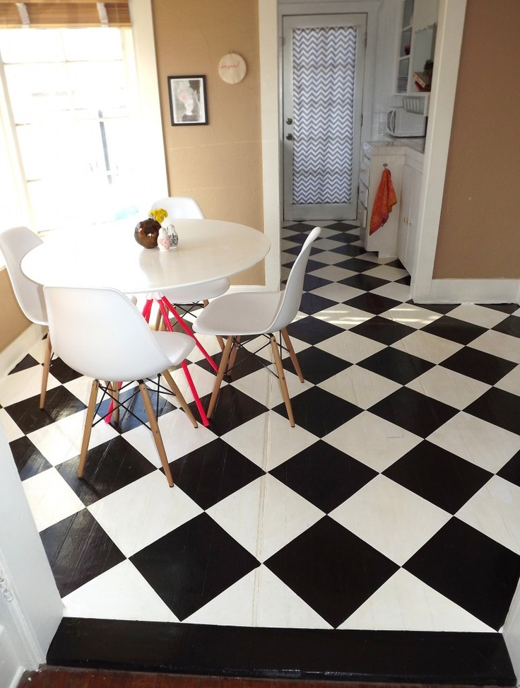 Ideas Checkered Flooring Ideas For Awesome Room Look Black: 17 Best Images About DIY Flooring On Pinterest