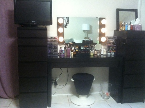 Lights on! My makeup vanity. Vanity Girl Hollywood wall-mounted mirror, IKEA Malm table, IKEA ...