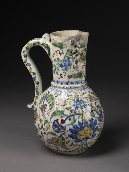 Jug | Made in Kütahya, Turkey, 1740-1745 | Materials: fritware, polychrome painted, glazed | A pottery industry was well-established in Kütahya by the 17th century: there are references to 'cup makers' of Kütahya in 1608 | VA Museum, London