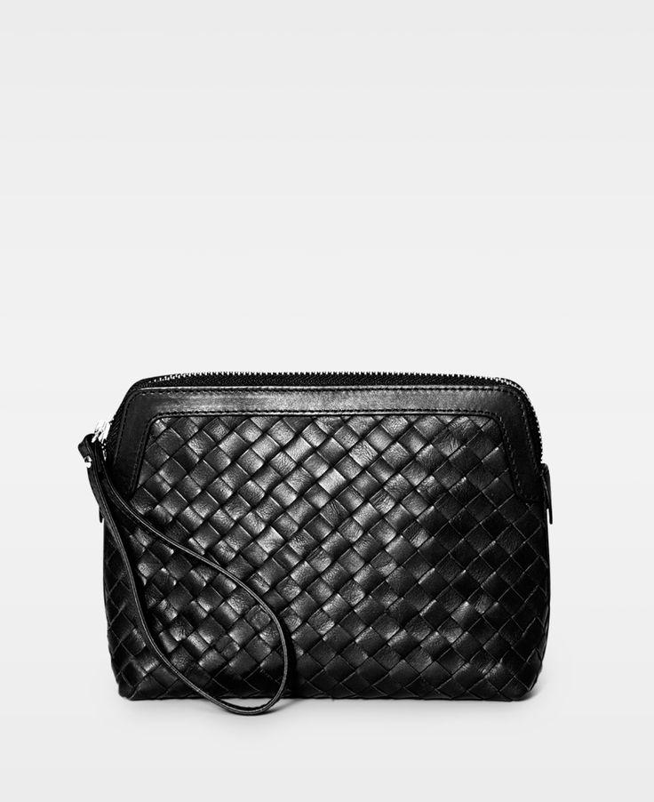 DECADENT Woven make up purse Black