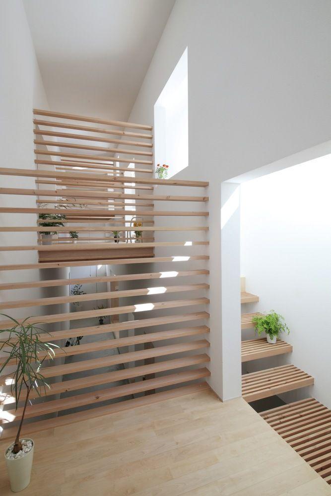 #Escaleras de #peldaños listones #madera - Katsutoshi Sasaki + Associates