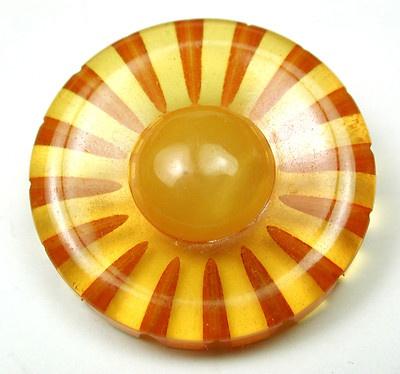 Vintage Bakelite Button 2 Tone Reverse Carved Flower Design