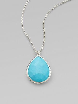"""From the Rock Candy Collection. A faceted teardrop of vivid turquoise, set in polished sterling silver on a silver chain. Turquoise Sterling silver Adjustable chain length, about 16""""-18""""... More Details"""