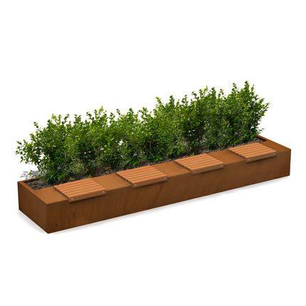 long green bench plantenbak met zittingen