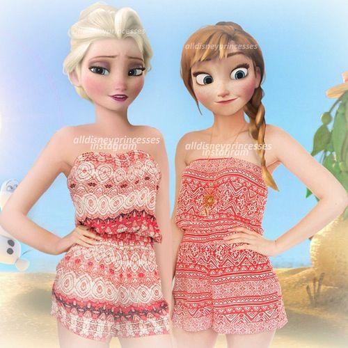 Elsa et Anna à la plage !