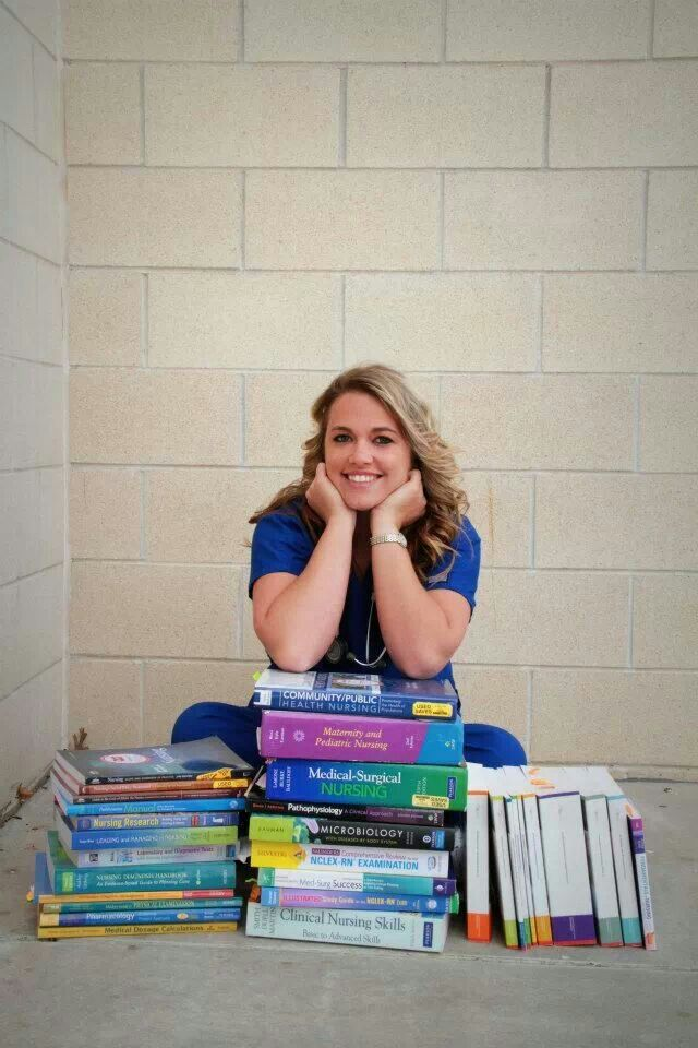 Nursing Senior Pictures--love this idea! I will have a stack that big if not bigger...April 24th 2015 here I come~!