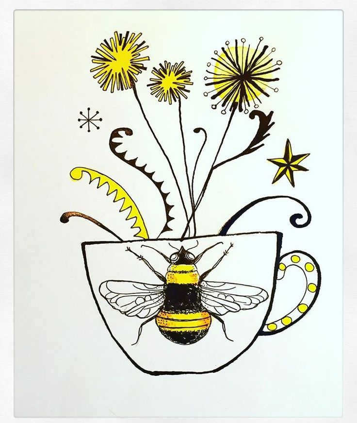 Bee and Dandelions illustration by Lizzie Reakes
