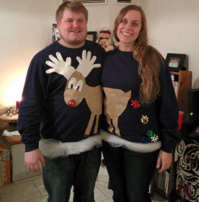 This Christmas, your significant other and you may be invited to an ugly sweater party. Instead of stressing about where to find them, use this Reindeer Couples Ugly Sweater Idea. With this idea you you end up with two cheap ugly Christmas sweaters.