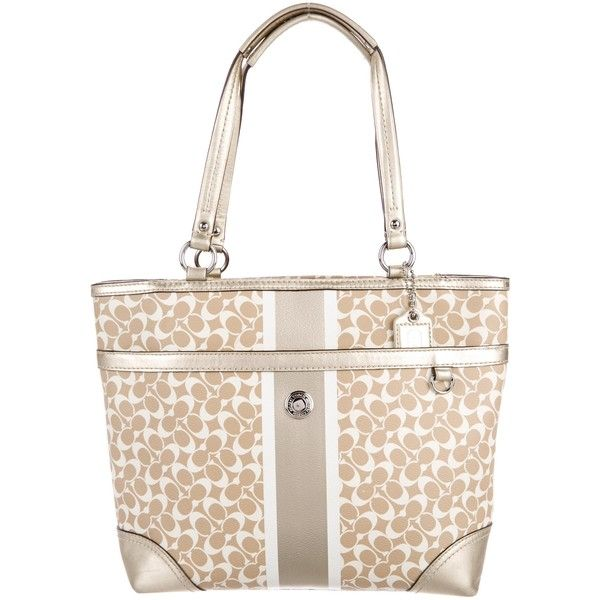 Pre-owned Coach Leather-Trimmed Monogram Coated Canvas Tote ($125) ❤ liked on Polyvore featuring bags, handbags, tote bags, gold, zipper tote, handbag purse, white tote bag, coach tote bags and zip tote
