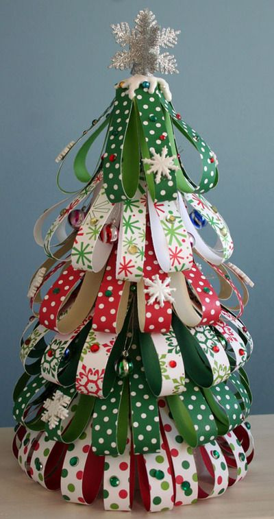 "Got together with Jessica yesterday, and Kathy and Ruth Ann were making these (wish I knew their Pinterest IDs!). Christmas Tree using Styrofoam Cone, Craft Paper & Embellishments. They were using ribbon and straight pins. Kathy cut the ribbon at 4"" while Ruth Ann cut her ribbon at 5.25""."