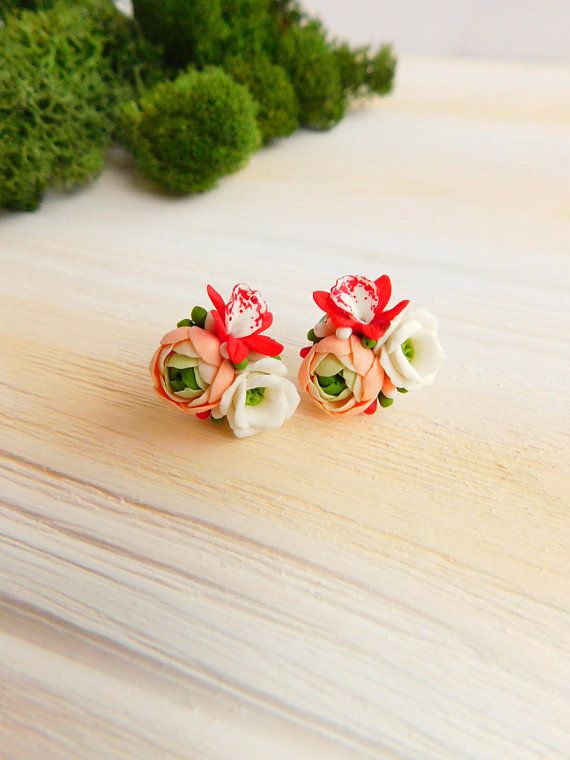 Summer Stud Earrings Flower Orchid Earrings Delicate Earrings Floral Jewelry Miniature Jewelry Peach Earrings Red Stylish Earrings Wedding Polimery Cvety I Sergi Iz Polimernoj Gliny