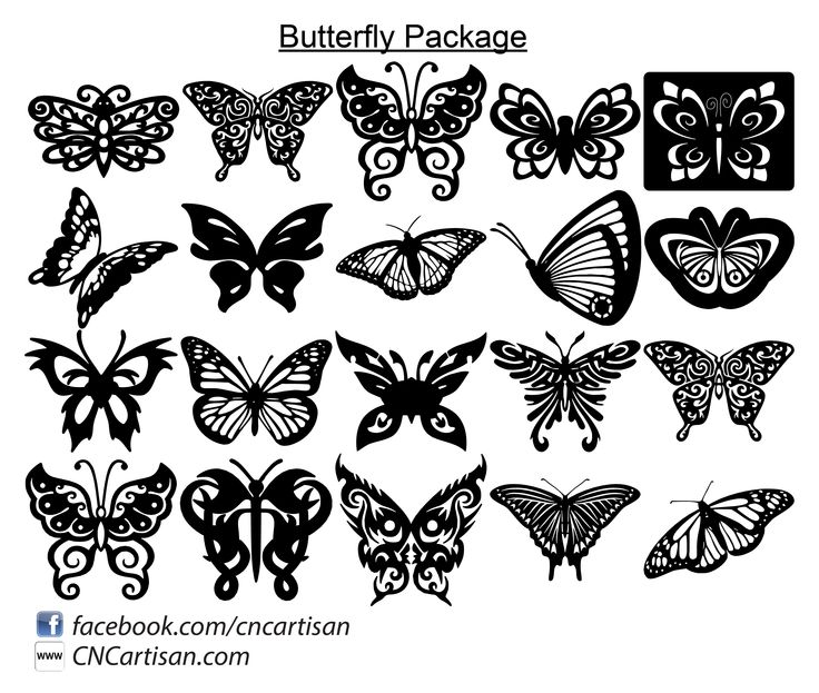 Ornaments Decorative Butterfly Silhouette Designs Dxf