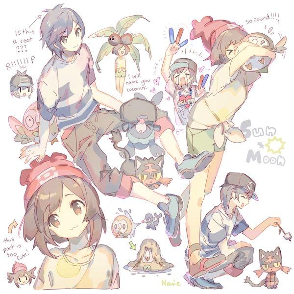 Namie-kun, Pokémon, Female Protagonist (Pokemon Sun/Moon), Popplio, Litten, Rowlet