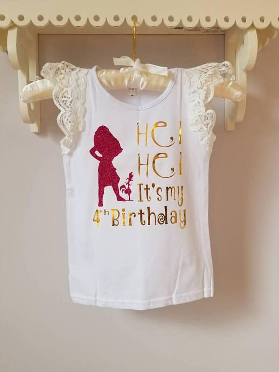 HEI HEI Its my Birthday - Disney Moana Birthday Shirt TODDLER SHIRT STYLE: lace sleeves CHILD SHIRT STYLE: Puff Sleeve Any size white tank top (special request in convo) Shirt Color: - White - Request a custom color to see availability Vinyl type: - Silhouette (Moana & Hei Hei): GLITTER HOT PINK - Words: SILVER FOIL or GOLD FOIL - Special request color change available Message for any custom requests & we will do our best to accommodate based on availability. - Soft and Comfo...