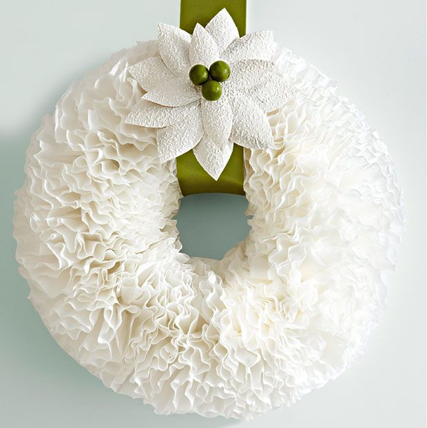 DIY Coffee Filter Wreath. So pretty!