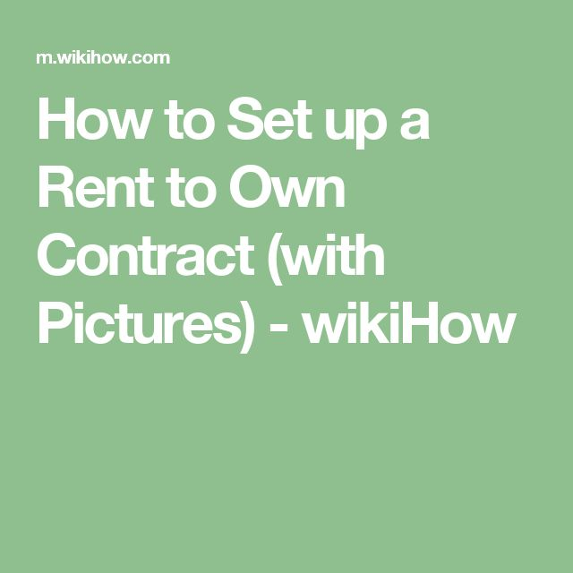 Set Up A Rent To Own Contract  Renting Farm House And House