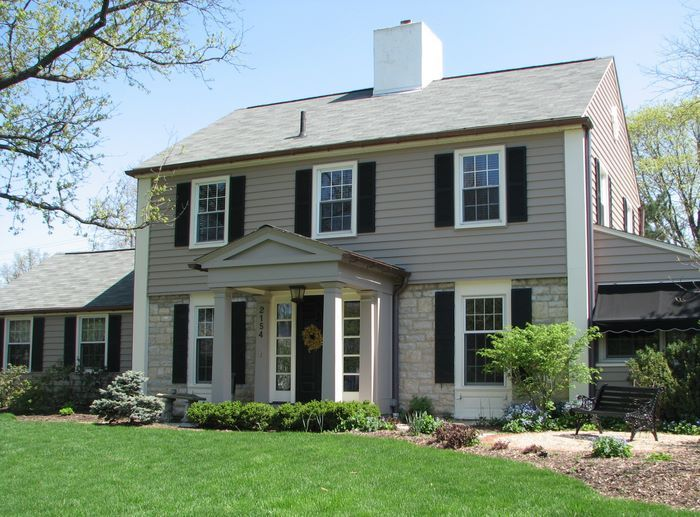 Light Stone W Dark Gray Siding Black Shutters Homes