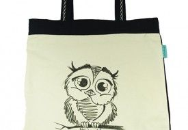 Torba Klasyczny Szkic- Baby Owl. Tote bag with hand-painted baby owl.