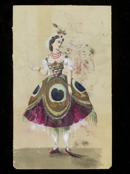 1860s Peacock . It depicts a costume based around peacock feathers, with very exaggeratedly large peacock eyes on the skirt, an effect enhanced with applied tendrils of fringe, possibly chenille thread, to suggest the feathers.