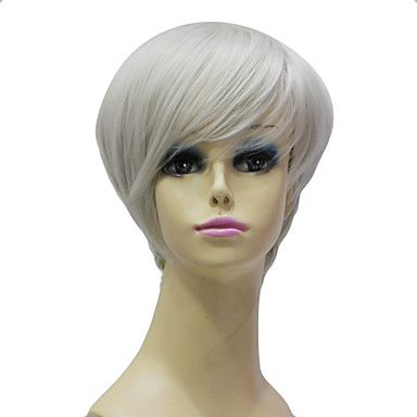 Capless High Quality Synthetic Janpanese Kanekalon Short Grey Straight Hair Wig