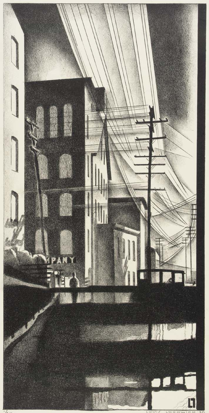 Factory and Canal (1930) by Louis Lozowick (American 1892-1973)