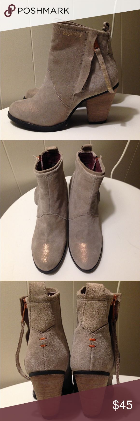 """SuperDry taupe / beige Dillanger Bootie Shimmery taupe / beige bootie with metal rose gold zipper. 3"""" wood heel.  Never worn, only tried on. Real leather suede outside and nice thick canvas inside.  Amazing quality boots and brand new. Superdry Shoes Ankle Boots & Booties"""