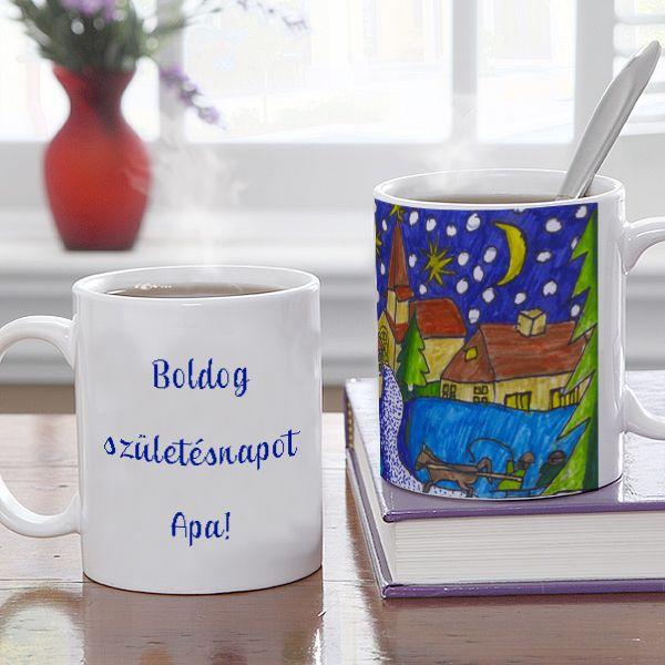 Bögre gyermeke legszebb rajzával díszítve - Ennél egyedibb már nem is lehetne! A gyerekek gyakran lepik meg a hozzájuk közel állókat saját készítésű rajzokkal. Miért ne ajándékozna ilyen egyedi bögrét a nagyinak, vagy más ismerősnek, rokonnak? Az egyedi képes ajándék egyik oldalára a gyermek rajza, a másik oldalra akár egyedi felirat kerülhet. - Egyedi fényképes ajándékok webáruháza - www.kepesajandekom.hu