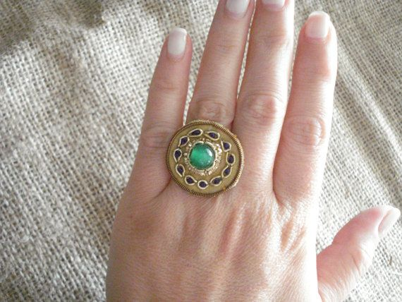 50% off Vintage emerald ring Gold ring Victorian ring by Poppyg