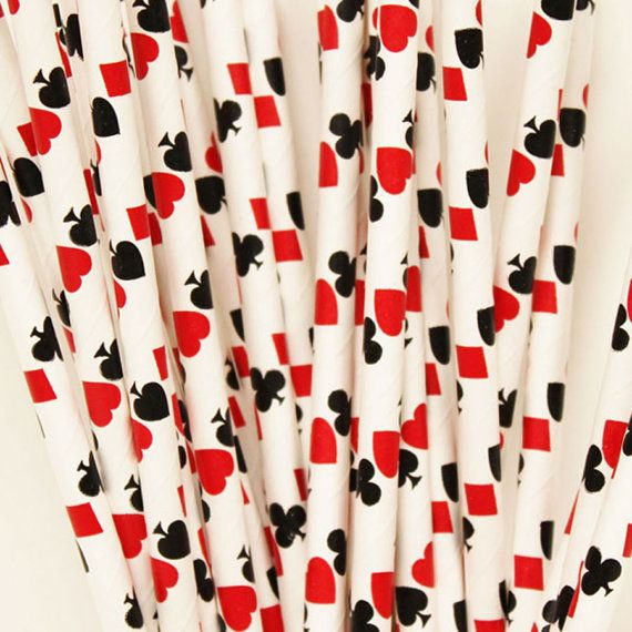 Playing Cards Paper Straws, Alice In Wonderland, Casino, Card Night, Polka Parties, Family Game Night. Hearts, Clubs, Spades, Diamonds, Your card