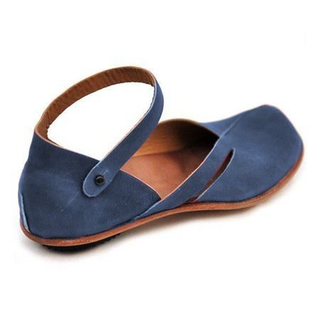 eae84aa20348d Leather Flats Sandals Women Squre Closed Toe No Heel Vintage Ankle ...