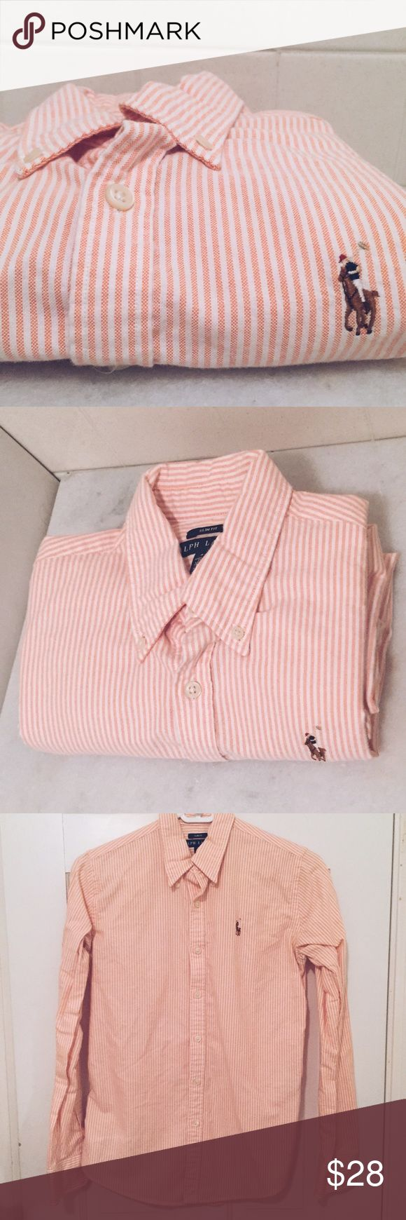 Peach and White Stripped Ralph Lauren Oxford Great peach/Orange Ralph Lauren button down. Only worn a couple of times. In great condition. Ralph Lauren Tops Button Down Shirts