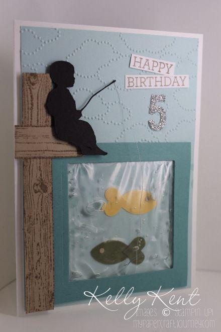 Fishing boy - Water Gel birthday card. Kelly Kent - mypapercraftjourney.com.