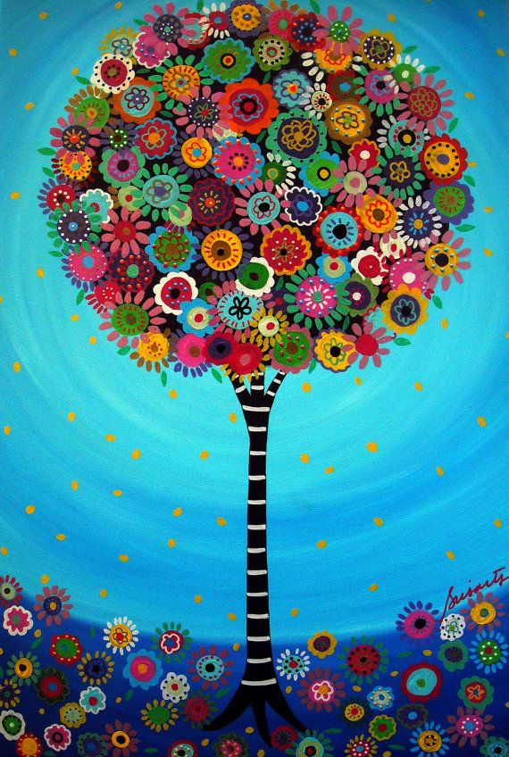 Folk Art Tree of Life Flowers Florals Whimsical Painting PRINT by Pristine Turkus