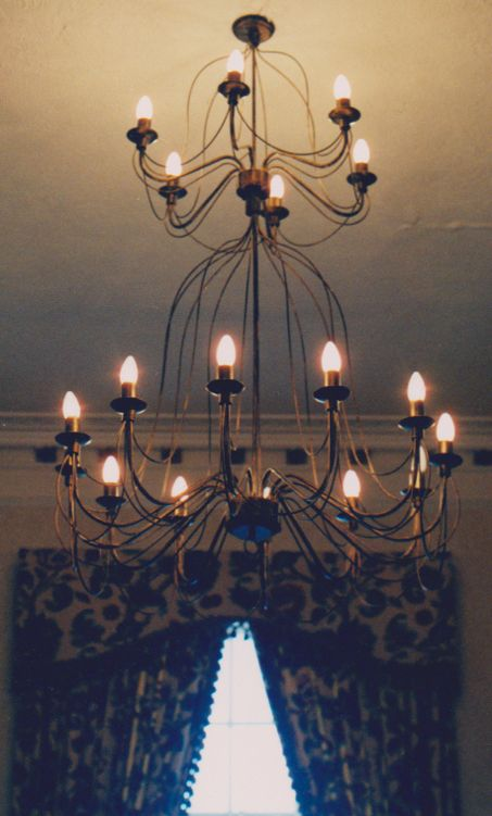 One of our Italian 897 birdcage range hanging up in the ball room of a castle #castle #chandelier