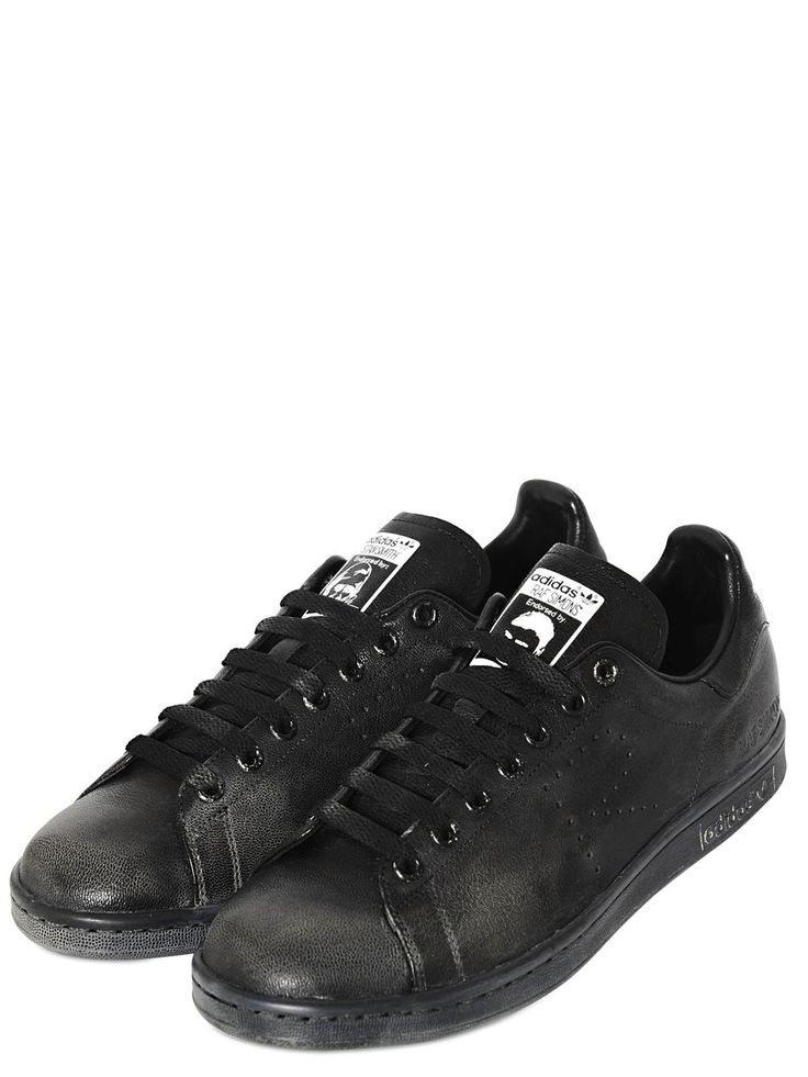 ラフシモンズ(RAF SIMONS)ブラックカーフスニーカー ADIDAS BY RAF SIMONS - STAN SMITH VINTAGE LEATHER SNEAKERS - BLACK