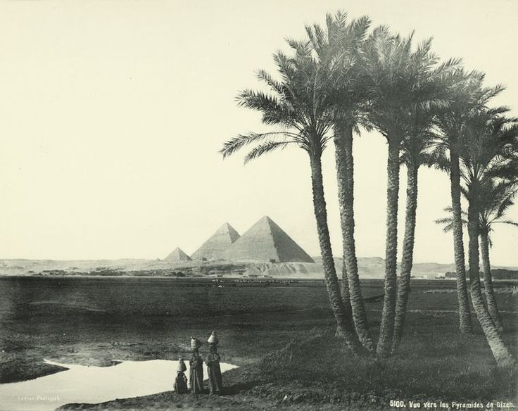 old vintage photos of egypt 1870-1875 : View Towards the Pyramids of Giza