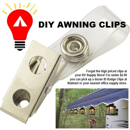 "ID Badge awning clips make it easy...and cheap, to attach your novelty camping lights. 12 for under $2.00 at office supply stores or Walmart. <3<3 our pins?  ""LIKE"" us at: https://www.facebook.com/bound4burlingame to get camping tips, recipe ideas, DIYs, outdoor ideas and sensational finds on your newsfeed."