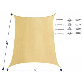 Cool Area UV-block Rectangle Sun Shade Sail with Stainless Steel Hardware Kit (13' x 19'8)