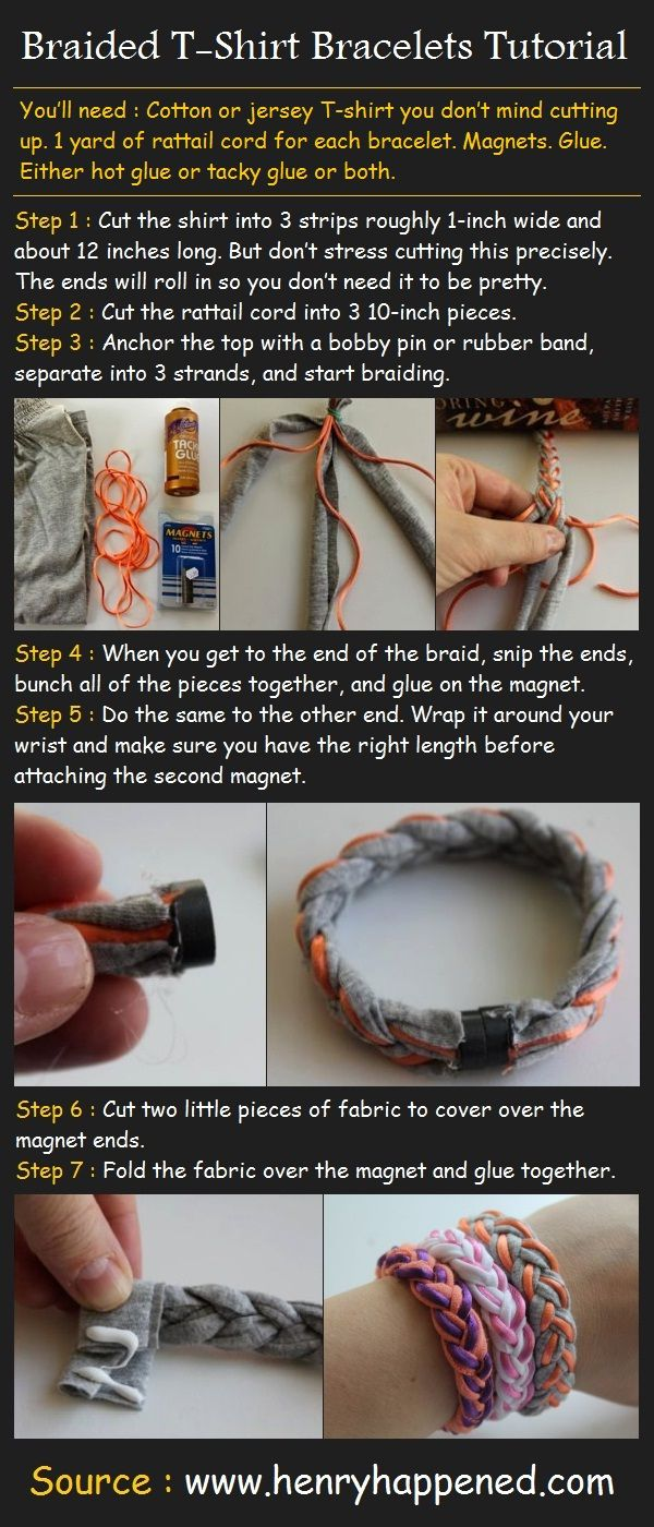 Braided T-Shirt Bracelets Tutorial | Pinterest Tutorials must try! @Kim at eCrafty.com #ecrafty #diybracelets #braceletsupplies
