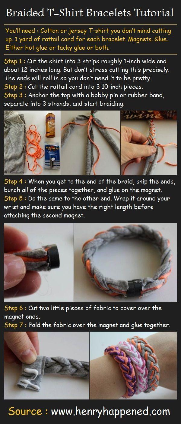 Braided T-Shirt Bracelets Tutorial | Pinterest Tutorials must try! @KD Eustaquio at eCrafty.com #ecrafty #diybracelets #braceletsupplies