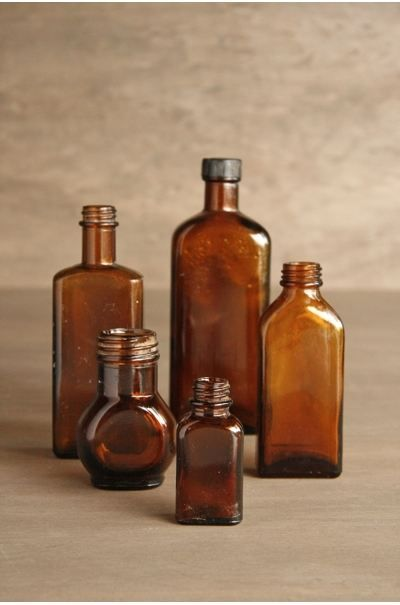 brown glass vessels