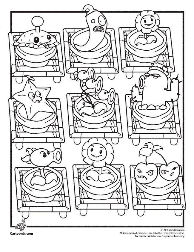 Plants vs zombies pea shooter coloring pages