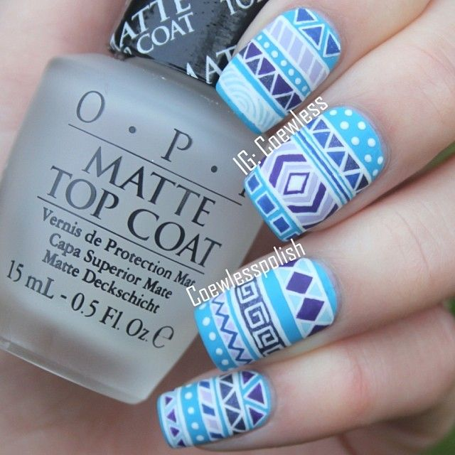 Matte. OPI. Tribal nail art. Nail design. Blue, purple nails. Instagram photo by coewless