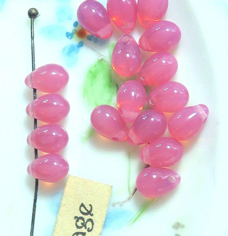 #1665 Vintage Beads Glass Drops Dangles Pink Opal Teardrop NOS 5x7 Top Drilled #czech #dropdangles