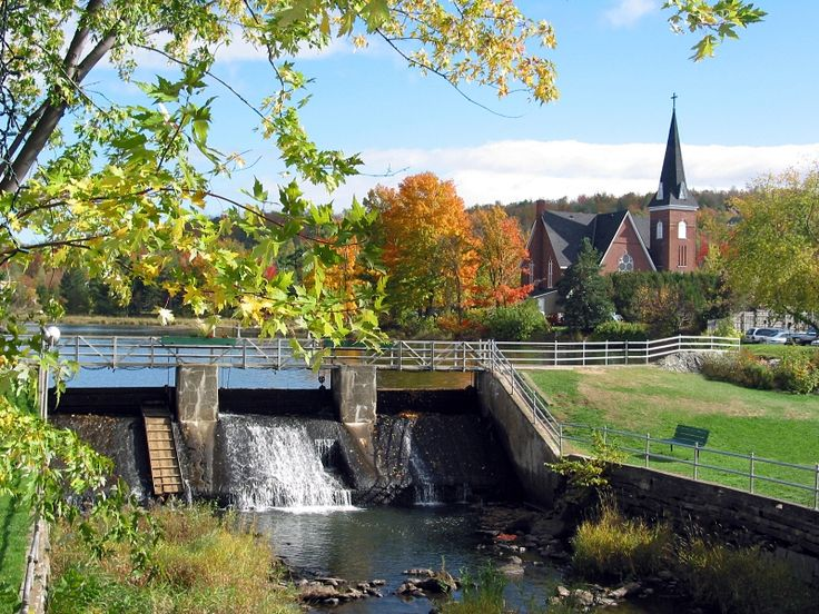 ... Georgeville, Quebec, Canada. Autumn village, Knowlton, Quebec, Canada
