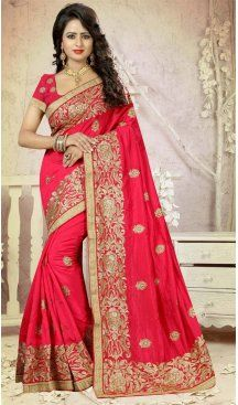 Deep Pink Color Silk Embroidery Party Saree | FH586486355  Sale up to 19% off end in 31 July Hurry Follow us @Heenastyle