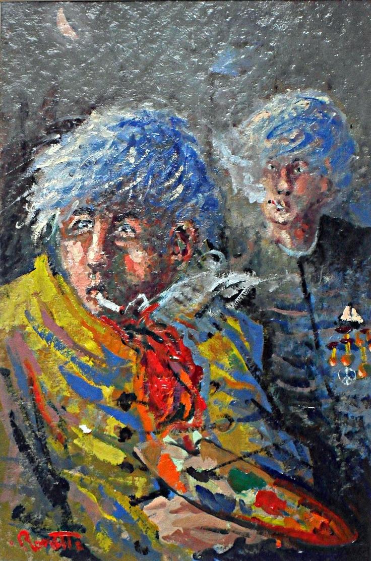 """Luigi Rossetto """" Ho i capelli blù, per questo non fumo più!"""" - olio su cartoncino - 19,5x29 - 2009 - collezione Margherita Hack (Trieste)"""