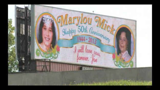 He told Marylou about his plan to run the billboard in the days before she died. | Husband Bought A Billboard For His 50th Anniversary To Tell His Late Wife He Still Loves Her