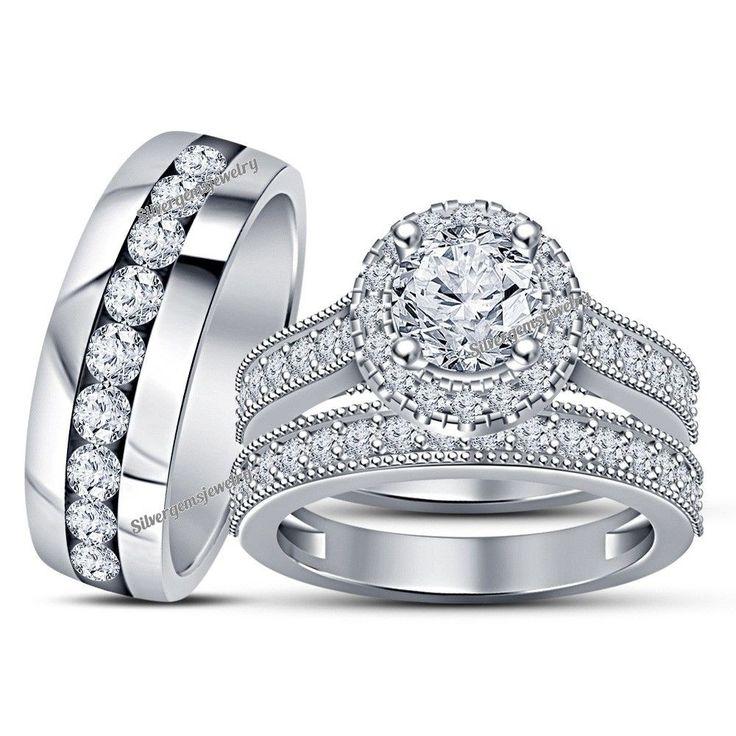 14K White Gold Over Trio Diamond Engagement Ring Set His Her Bridal Wedding Band Silvergemsjewelry